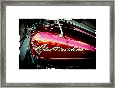 Red Harley-davidson Framed Print by David Patterson