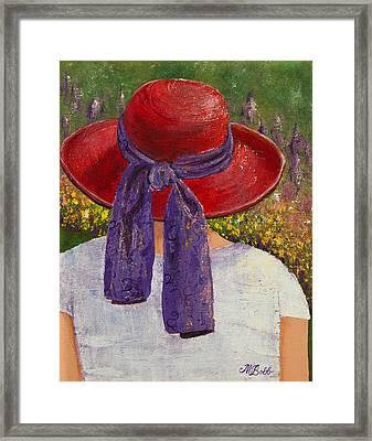 Red Hat Garden Framed Print by Margaret Bobb