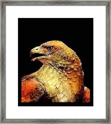 Red Hawk Art Framed Print by Mario Perez