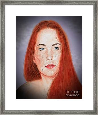 Red Headed Beauty Vdersion II Framed Print by Jim Fitzpatrick