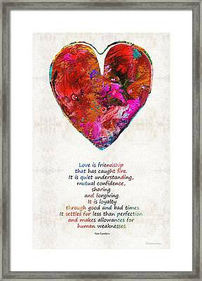 Red Heart Art - Love Is - By Sharon Cummings Framed Print by Sharon Cummings