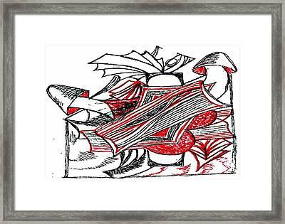 Red Heart Mushroom Framed Print by Becky Sterling