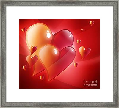 Red Hearts In Love Framed Print by Angela Waye