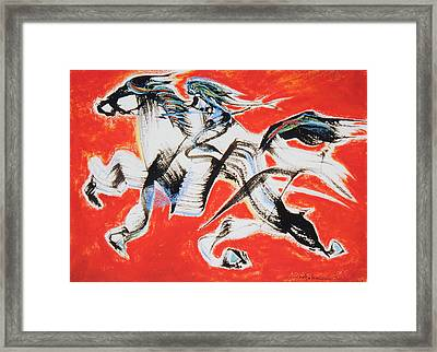 Red Horse And Rider Framed Print by Asha Carolyn Young