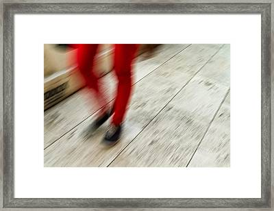 Red Hot Walking Framed Print by Karol Livote