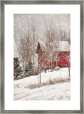 Red House In A Snowstorm Framed Print by Janis Knight