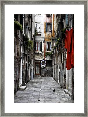 Red In Venice Framed Print by John Rizzuto