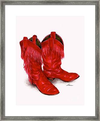 Red Leather Fringed Cowboy Boots Framed Print by Nan Wright