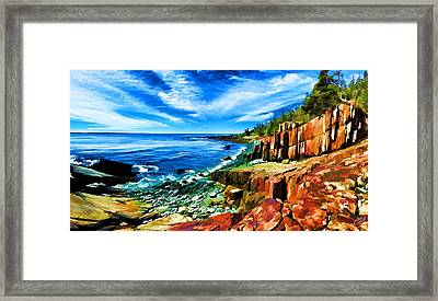 Red Ledge At Quoddy Head Framed Print by Bill Caldwell -        ABeautifulSky Photography