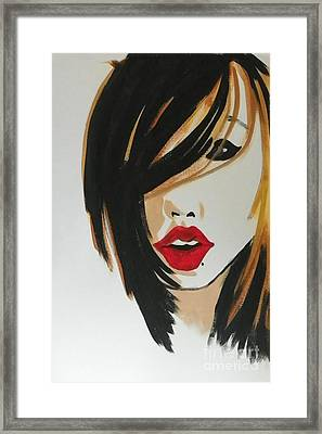 Red Lips Framed Print by Marisela Mungia