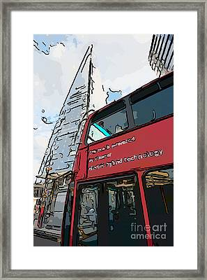 Red London Bus And The Shard - Pop Art Style Framed Print by Ian Monk