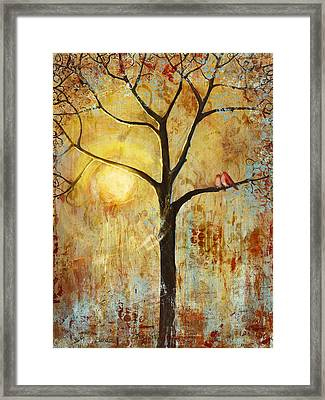 Red Love Birds In A Tree Framed Print by Blenda Studio