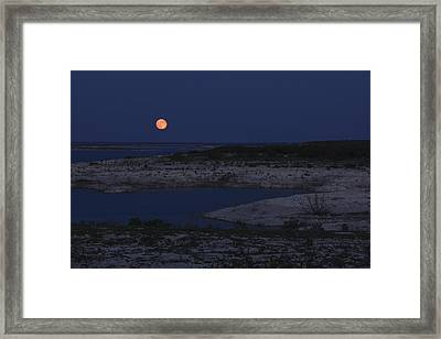 Red Moon Rising Framed Print by Amber Kresge