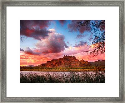 Red Mountain Sunset Framed Print by John Haldane