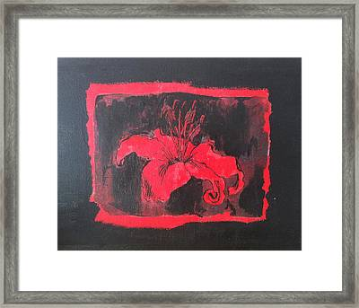 Red On Black Framed Print by Megan Washington