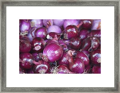 Red Onions For Sale At The Open Air Framed Print by Mallorie Ostrowitz