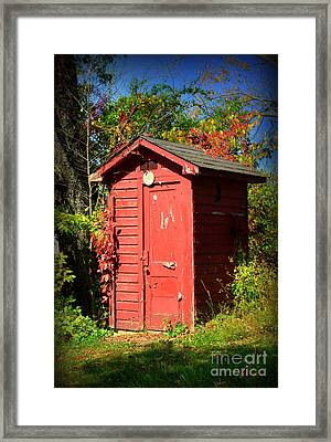 Red Outhouse Framed Print by Paul Ward