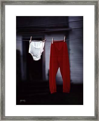 Red Pants Framed Print by Wayne King