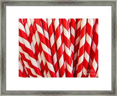 Red Paper Straws Framed Print by Edward Fielding