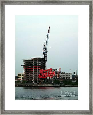 Red Pepsi Sign  Framed Print by Avis  Noelle