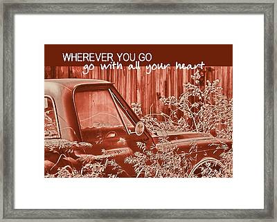 Red Pickup Quote Framed Print by JAMART Photography