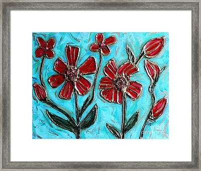Red Pinwheel Flowers Framed Print by Cynthia Snyder