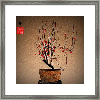 Red Plum Blossoms Framed Print by GuoJun Pan