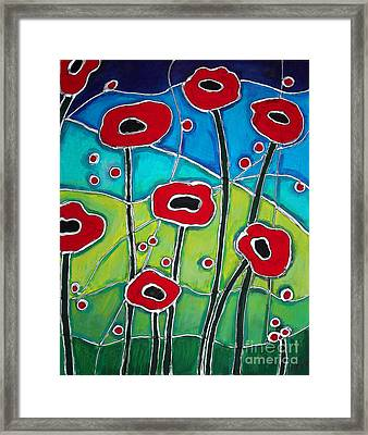 Red Poppies 1 Framed Print by Cynthia Snyder