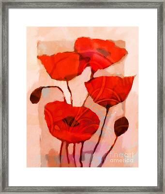 Red Poppies Art Framed Print by Lutz Baar