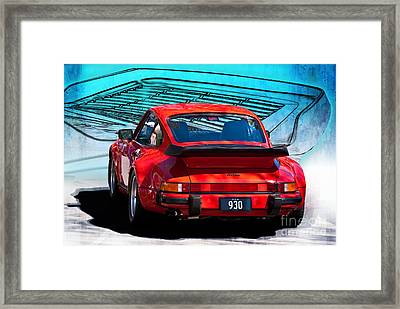 Red Porsche 930 Turbo Framed Print by Stuart Row