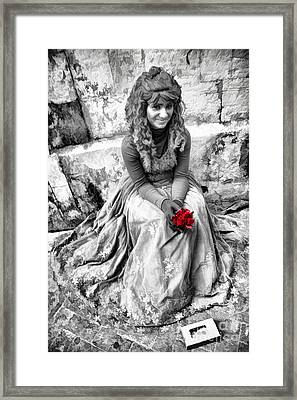 Red Red Rose In Black And White Framed Print by David Smith