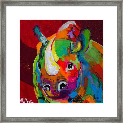 Red Rhino Framed Print by Tracy Miller