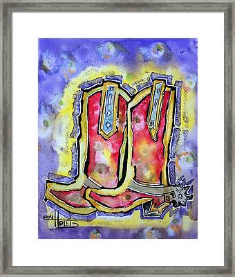 Red River Boots Framed Print by Gayla Abel  Hollis