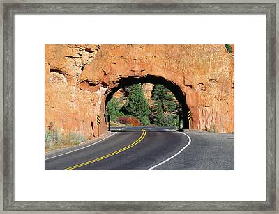 Red Rock Tunnel On Highway Framed Print by Panoramic Images