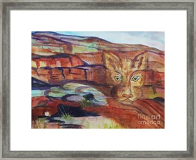 Red Rocks Mountain Lion - Surreal Abstract Framed Print by Ellen Levinson