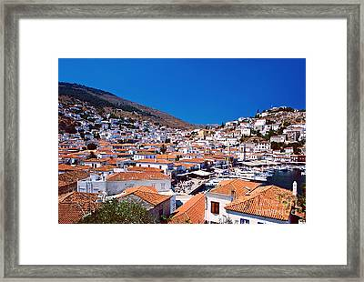 Red Roofs Framed Print by Aiolos Greek Collections