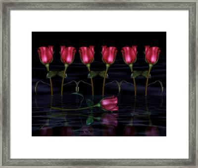 Red Roses In The Moonlight  Framed Print by Georgiana Romanovna