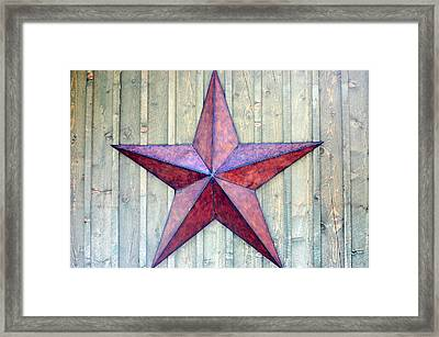 Red Rusted Star Framed Print by Holly Blunkall