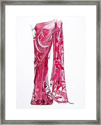 Red Saree Framed Print by Studio A
