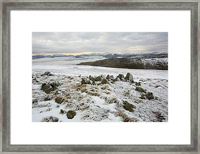 Red Screes Above Ambleside With Mist Framed Print by Ashley Cooper