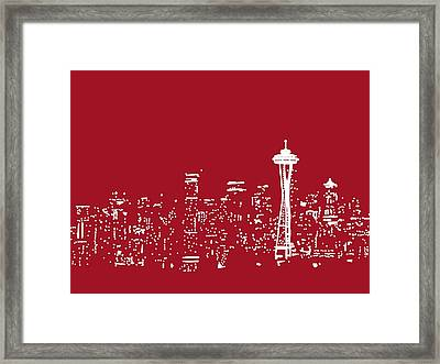Red Seattle Framed Print by Michael Fitzpatrick