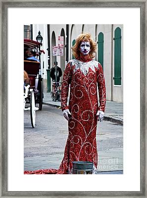 Red Sequined Mime Framed Print by Kathleen K Parker