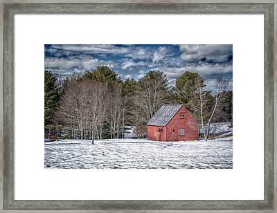Red Shed In Maine Framed Print by Guy Whiteley