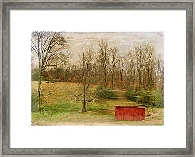 Red Shed Framed Print by Paulette B Wright