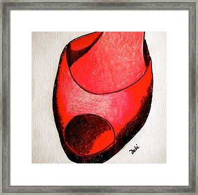 Red Shoe Framed Print by Debi Starr