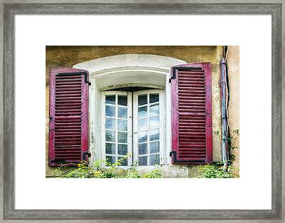 Red Shuttered Windows In France Framed Print by Georgia Fowler