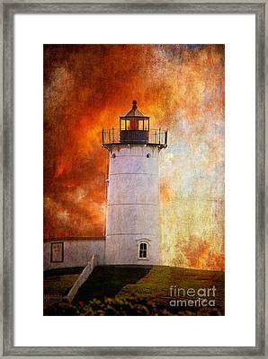 Red Sky At Morning - Nubble Lighthouse Framed Print by Lois Bryan