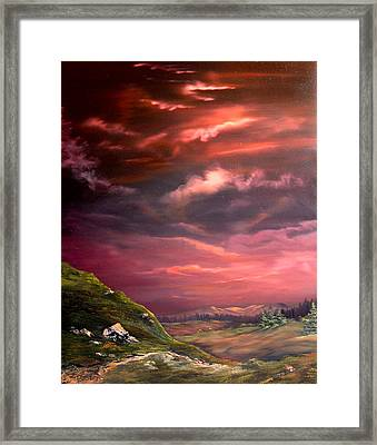 Red Sky At Night Framed Print by Jean Walker
