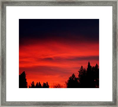 Red Sky In  The Bitterroot  Framed Print by Larry Stolle