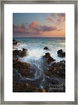 Red Sky Over Kahoolawe . .  Framed Print by Mike  Dawson
